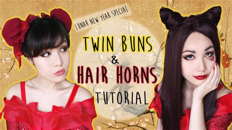 ox horn hairstyle hipster hair hair wig tutorial twin buns and dragon hair horns youtube