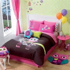 New girls teens brown pink owl comforter bedding set ebay