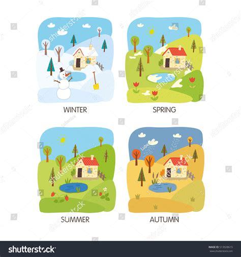 4 seasons landscape 4 seasons landscape winter summer stock vector