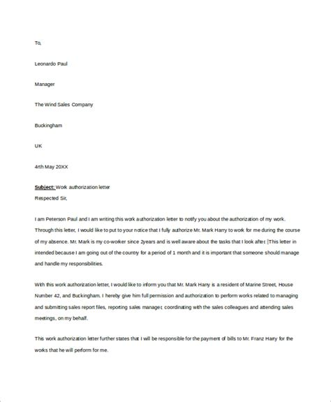 authorization letter employee sle work authorization letter 7 exles in word pdf
