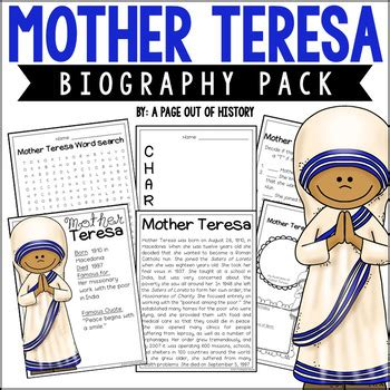 mother teresa biography book pdf mother teresa biography pack women s history by a page