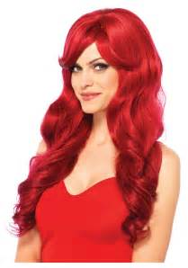 hair wigs long wavy red wig
