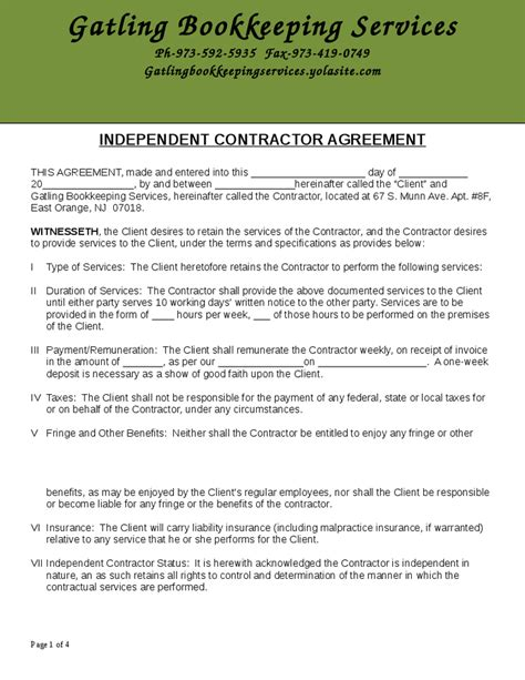 Contract Bookkeeper Letter Of Engagement Independent Contract Agreement Hashdoc