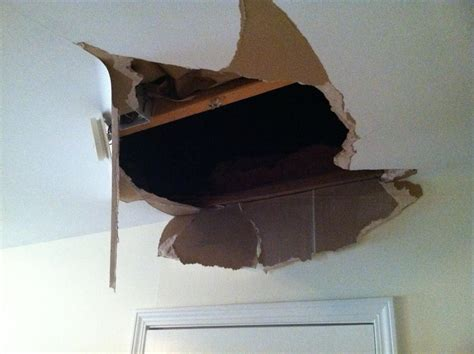 Sheetrock Ceiling by Fell Through Ceiling Help Me Fix The Hole Diy