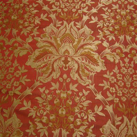 Large Floral Print Upholstery Fabric Coral Amp Gold Silk Damask Renaissance Fabrics
