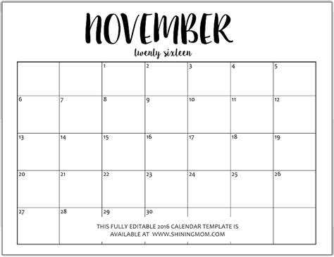 free editable monthly calendars 2016 in jpeg format