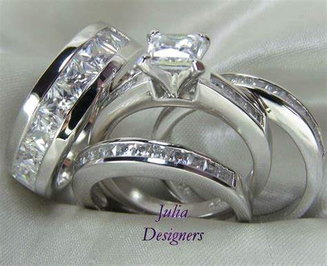 his hers engagement wedding band ring set sterling silver