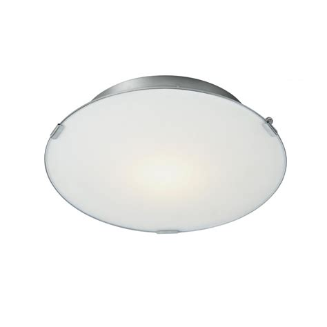 led flush ceiling light satin chrome trim with opal glass