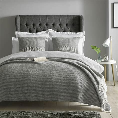 bed throws extra large grey woven wool throw by marquis dawe