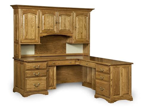 Solid Oak Desk With Hutch Amish Corner Computer Desk Hutch Home Office Solid Wood Furniture Traditional Ebay