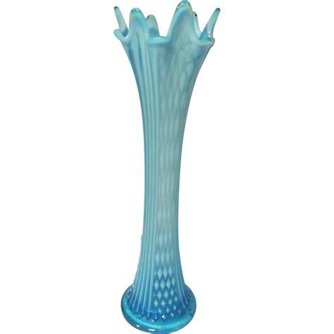fenton blue opalescent point columns 12 1 2 quot vase