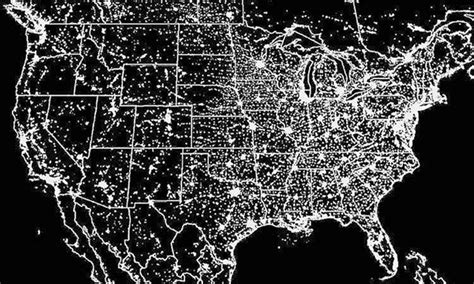 us map at with lights map of the us at light pollution united states