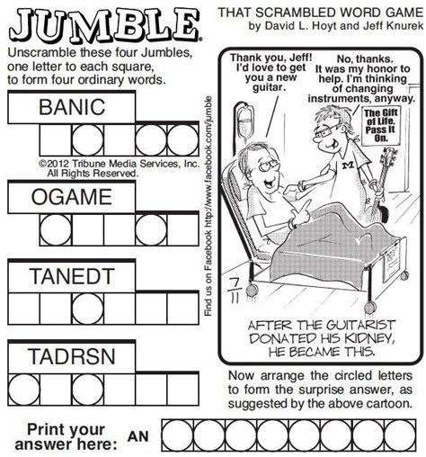 free printable jumble games unscramble today s jumble for a special message al com