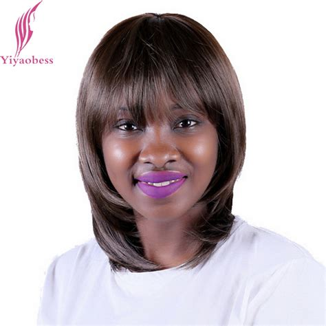 hairstyle with wigs with bangs for african women yiyaobess 35cm african american dark brown short wig
