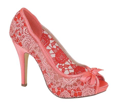 womens coral lace evening wedding prom peep toe
