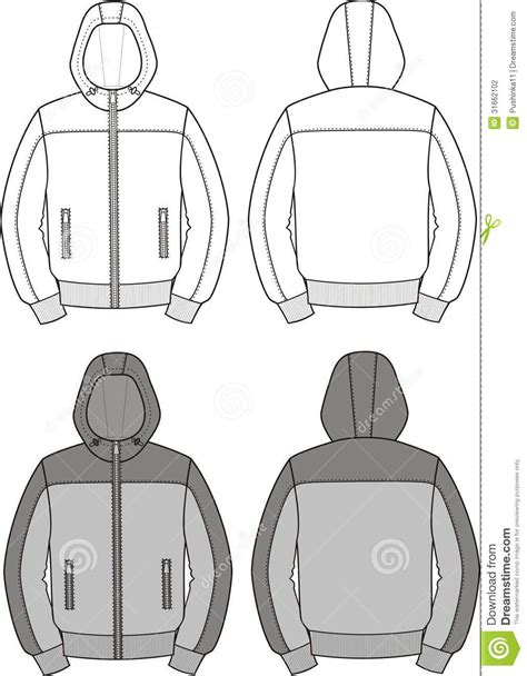 jacket layout vector hooded jacket stock vector image of fashionable design