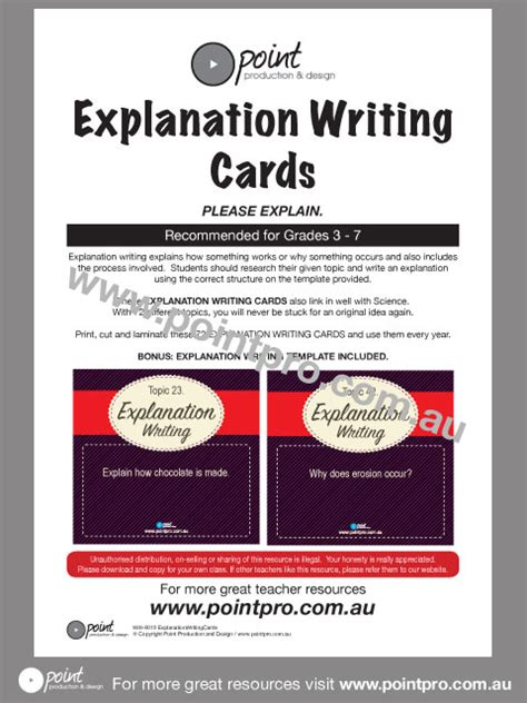 product layout explanation explanation writing cards point production and design