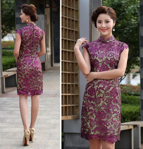 Dress Of The Day Golden Lace Qi Pao by Purple Lace Green Lined Modern Qipao Cheongsam Dress