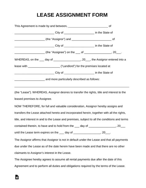 free assignment of lease form pdf word eforms free