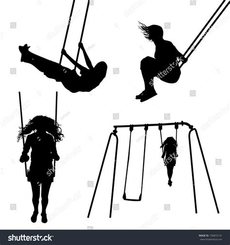 silhouette swing girl on a swing silhouettes stock vector 156872141