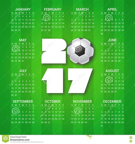 football calendar template calendar for 2017 year with soccer on bright green