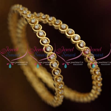 B8787 Gold Plated American Diamond White Stones 2 Pieces