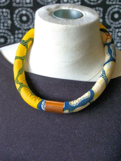 diy african rope necklace diy rope fabric necklace jewels pinterest fabric