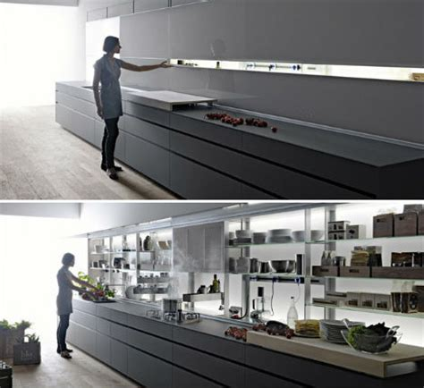 kitchen self design sleek self contained kitchen design disguises clutter