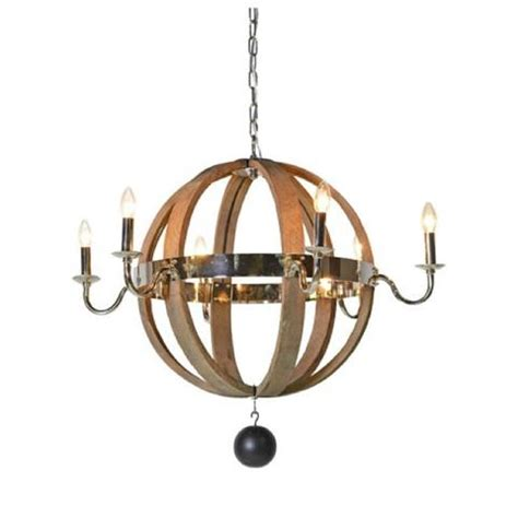 Large Wooden Orb Chandelier Ceiling Lights Beaded Birdcage Glass