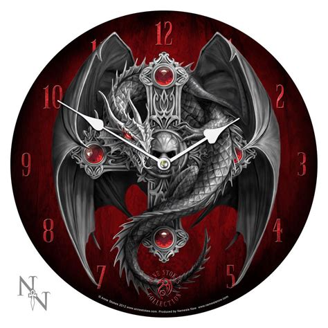 Evil Eye Home Decor by Anne Stokes Gothic Guardian Wall Clock Dragon Skull Dark