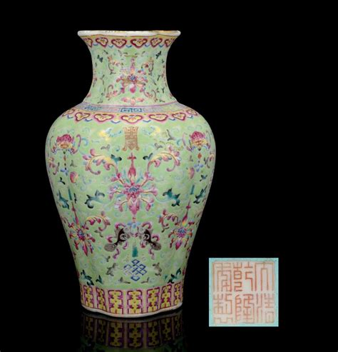 Baluster Vase by A Lime Green Ground Lobed Baluster Vase Qianlong Iron Six Character Seal And Of The
