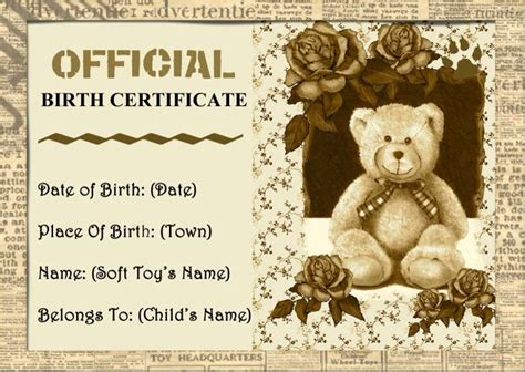 teddy birth certificate template 10 best images about teddy adoption on