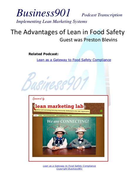 Benefits Of Mba In Information Technology by Advantages Of Lean In Food Safety
