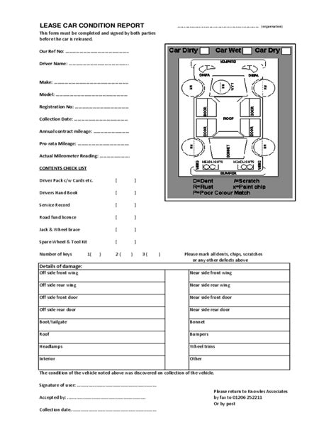 Vehicle Report Template Lease Car Condition Report Form Free