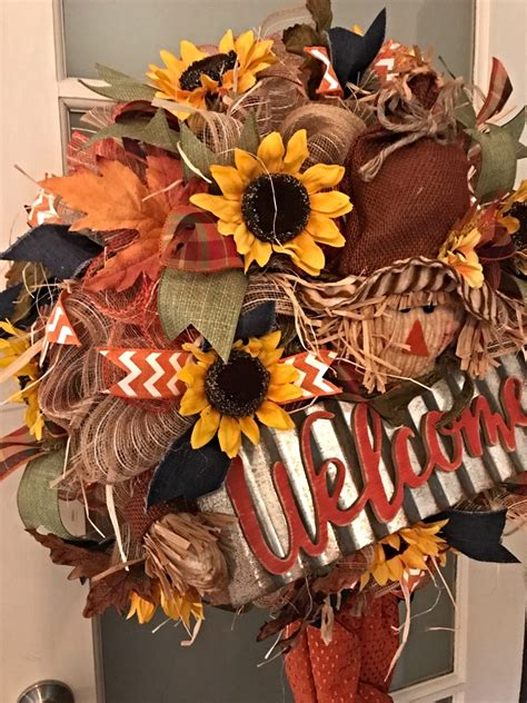 fall scarecrow wreath fall welcome wreath fall door