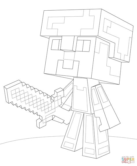 minecraft tnt coloring pages minecraft steve armor coloring page free