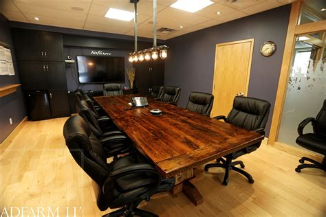 Timber Boardroom Table Boardroom Table Made From Reclaimed Wood In Guelph Ontario Hewn Beam Posts