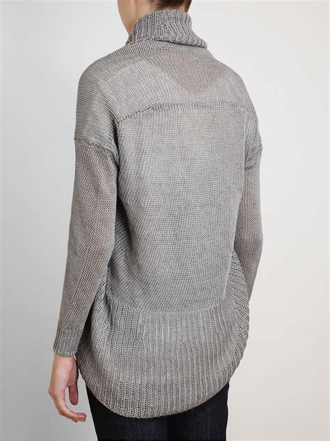 knitting pattern linen sweater vince knitted linen circle cardigan in gray lyst