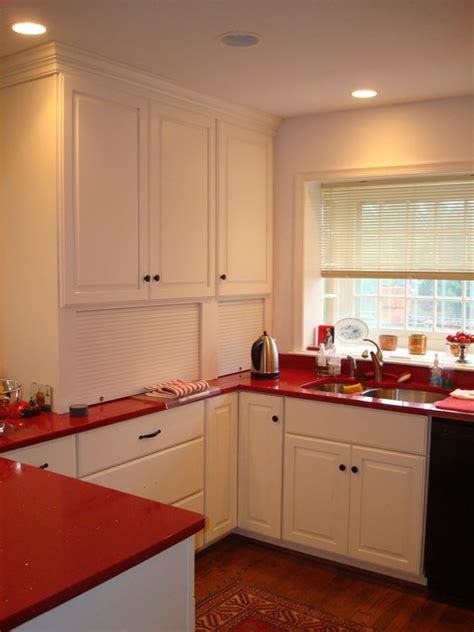 Backsplash Bathroom Ideas white w red countertops and stained accent wall