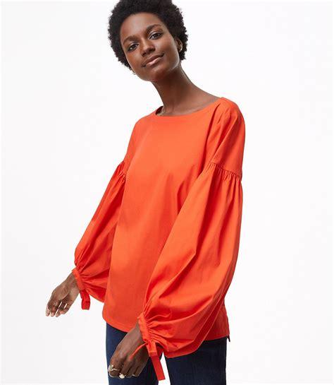 Lantern Sleeve Shirt loft lantern sleeve shirt in orange lyst