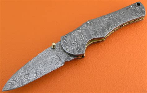 Handmade Folding Knife - damascus folding liner lock knife custom handmade