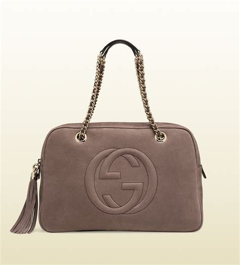 gucci soho bag lyst gucci soho nubuck leather chain shoulder bag in gray