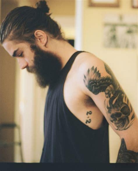 grey hair and beard and tattoos men pinterest beards style beard tattoo men style tattoo beards long hair art
