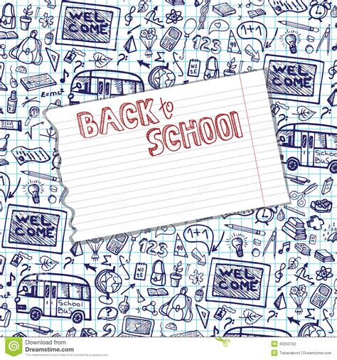 illustration layout composition back to school supplies sketchy notebook pattern stock