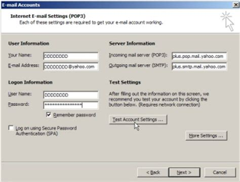 yahoo email email settings setup yahoo mail in outlook 2003