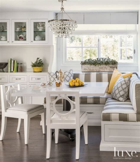 breakfast nook banquette seating transitional white breakfast nook with striped banquette