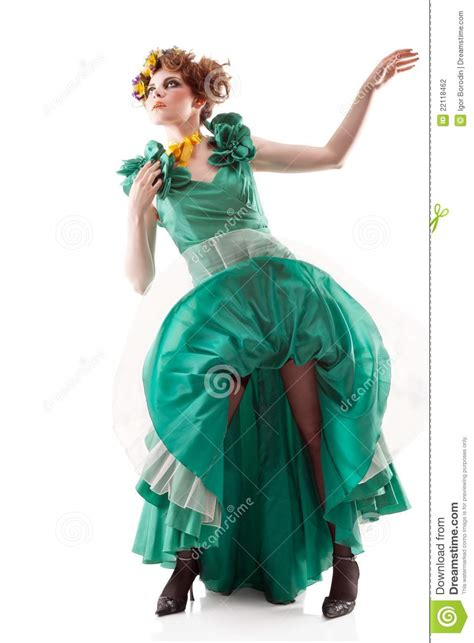 beauty woman in old fashioned dress image of
