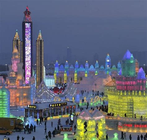 ice city colorful lights illuminate the ice city of harbin january