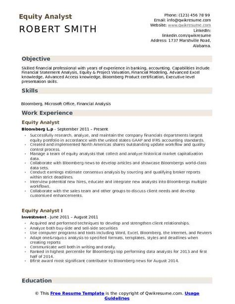 Equity Resume by Equity Analyst Resume Sanitizeuv Sle Resume And