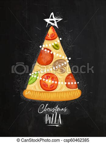 poster christmas tree pizza chalk poster christmas tree pizza  star  top  lettering